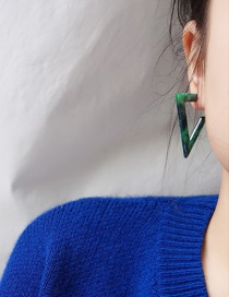 Fashion Dark Green Resin Triangle Earrings
