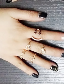 Fashion Golden Alloy Flower Smiley Digital Bowknot Hollow Ring Set