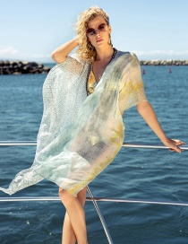 Fashion Green Printed Sunscreen Shawl Chiffon Shirt Coat