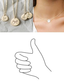 Fashion Rose Gold-thumb Geometric Round Stainless Steel Titanium Steel Engraved Gesture Double Hole Necklace 13mm
