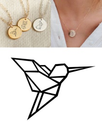 Fashion Golden Stainless Steel Engraved Asuka Geometric Round Necklace 13mm