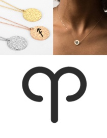 Fashion Steel Color-aries Stainless Steel Round Hammer Engraved Constellation Necklace 13mm