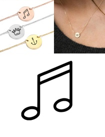 Fashion Steel Color Titanium Steel Stainless Steel Engraved Note Double Hole Round Necklace 9mm