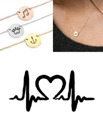 Fashion Rose Gold Titanium Steel Engraved Ecg Stainless Steel Double Hole Round Necklace 9mm