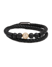 Fashion Golden White Zirconium 10mm Micro Inlaid Zircon Diamond Ball Stainless Steel Magnetic Buckle Leather Bracelet