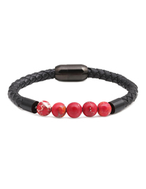 Fashion Red Emperor Stone Leather Stainless Steel Magnetic Bracelet