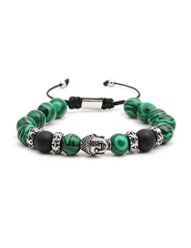 Fashion Steel Color Malachite Stainless Steel Woven Adjustable Buddha Head Bracelet For Men