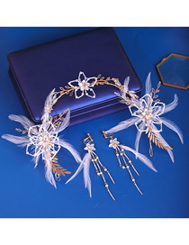Fashion White Feather Flower Crystal Headband Earring Set