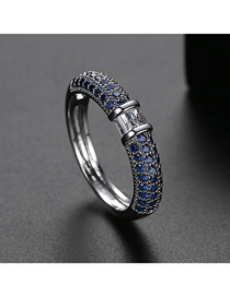 Fashion 9 Yards In Blue Copper-set Zircon Contrast Alloy Ring
