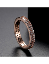 Fashion Rose Gold 9 Yards Double Row Ring With Diamonds