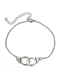Fashion Silver Handcuffs Letter Alloy Adjustable Anklet