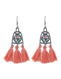 Fashion Skin powder Tassel and zirconium geometric cutout earrings