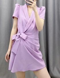 Fashion Purple Tie Bow Puff Sleeve Suit Jumpsuit