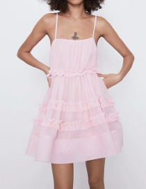 Fashion Pink Tulle Paneled Fungus Pleated Dress