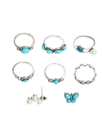 Fashion blue Geometric Turquoise Butterfly Pearl Ring Set