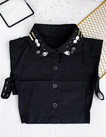 Fashion Black Cloth Resin Rice Bead Breasted Fake Collar