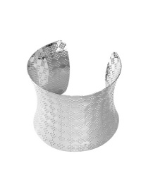 Fashion Silver Metal pitted embossed geometric wide alloy bracelet