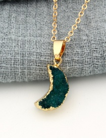Fashion Navy Natural Stone Moon Geometric Alloy Necklace