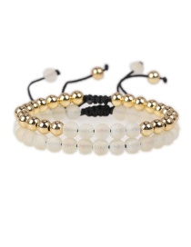 Fashion Transparent color Hand-woven beaded real gold plated double copper bead bracelet