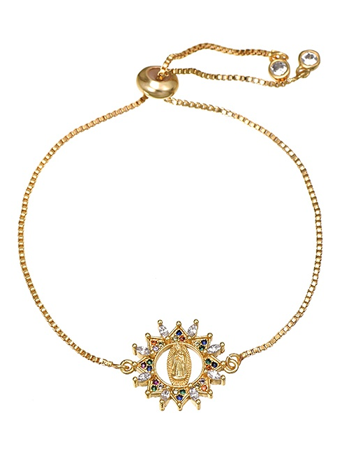 Fashion Golden Bracelet Of Our Lady Of Cubic Zirconia