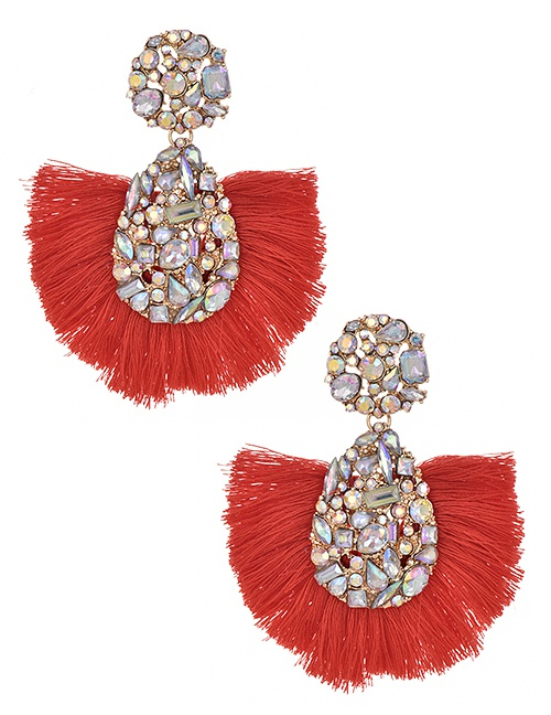 Fashion Red Alloy Ab Color Water Drop Tassel Earrings