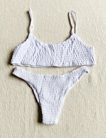 Fashion White Pleated Split Swimsuit