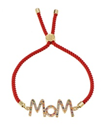 Fashion Red Braided Zircon Letter Mom Braided Wire Rope Bracelet