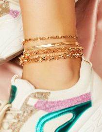 Fashion Golden Chain Alloy Multilayer Anklet Set