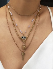 Fashion Golden Multi-layer Necklace Set With Pearl Eyes And Diamonds