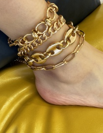 Fashion Golden Chain Alloy Hollow Anklet Set