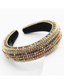 Fashion Color Sponge Wide Alloy Hair Hoop With Diamonds