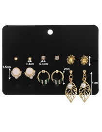 Fashion Color Mixing Leaf And Diamond Pearl Hollow Alloy Earring Set