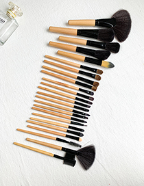 Fashion Khaki 24pcs Wooden Makeup Brush Set