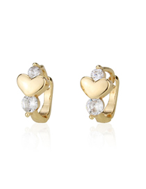 Fashion Gold-plated White Zirconium Studded Heart Stud Earrings With Diamonds