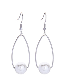 Fashion Long-2 Pearl Geometric Alloy Earrings