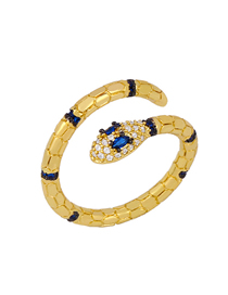 Fashion Blue Micro Inlaid Zircon Snake-shaped Alloy Embossed Ring