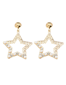 Fashion Golden Pentagram Alloy Acrylic Diamond Earrings