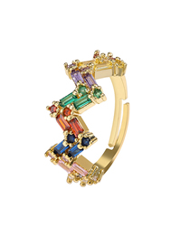 Fashion Golden Crown Cubic Micro Set Inlaid Zircon Opening Adjustable Ring
