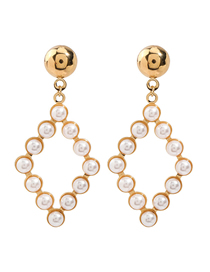 Fashion Golden Large Diamond Alloy Earrings With Pearl Geometry