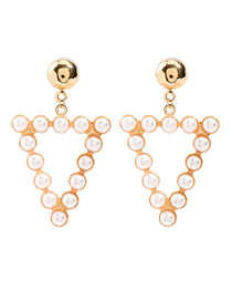 Fashion Golden Triangle Alloy Stud Earrings With Pearls