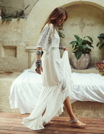 Fashion White Chiffon Lace Stitching Split Sun Clothes