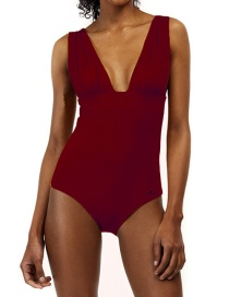Fashion Wine Red Pleated Printed V-neck Patchwork Swimsuit