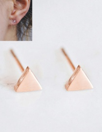 Fashion Rosy Shiny Stainless Steel Geometric Triangle Earrings