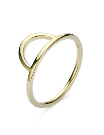 Fashion Golden Stainless Steel Geometric Cutout Thin Edge Ring
