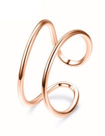 Fashion Rose Gold Stainless Steel Geometric Openwork Ring