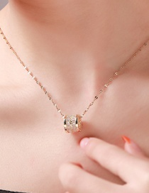 Fashion Golden Full Diamond Titanium Steel Vacuum Plated 18k Gold Round Clavicle Chain