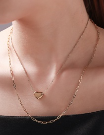 Fashion Golden Stainless Steel Heart-shaped 24k Chain Necklace Set