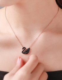 Fashion Black Full Diamond Swan Stainless Steel Alloy Necklace