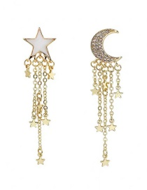 Fashion Yellow Alloy Star Moon Asymmetric Diamond Earrings