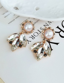 Fashion White Resin Flower Rhinestone Pearl Leaf Earrings